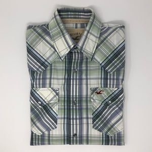 Hollister Plaid Shirt With Snap Closures Size S